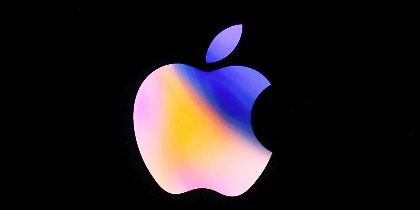 Logo de Apple con la manzana en color tornasol