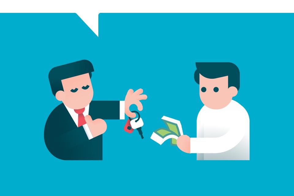 Persona intercambiando dinero y llaves de auto